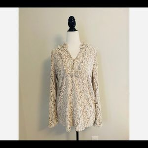 Isaac Mizrahi Live Lace Embroidered Blouse Ivory